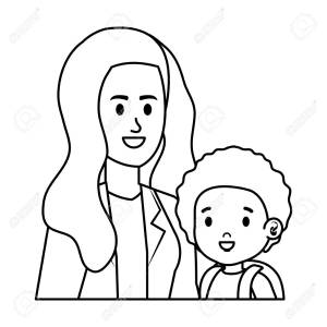 young mother with little son characters